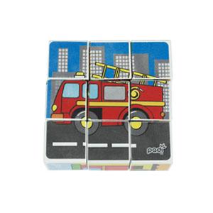 mainan kayu 6 in 1 block puzzle mobil pemadam