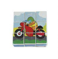 mainan kayu 6 in 1 block puzzle sepeda motor